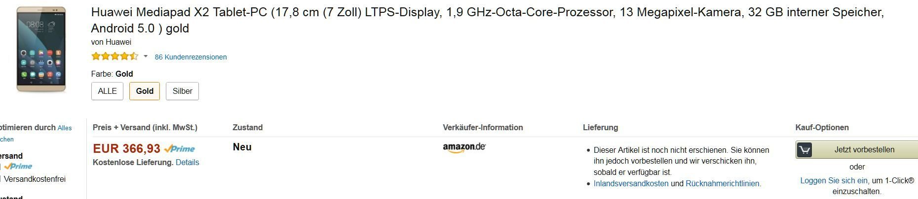 Mediapad X2 bei Amazon noch immer