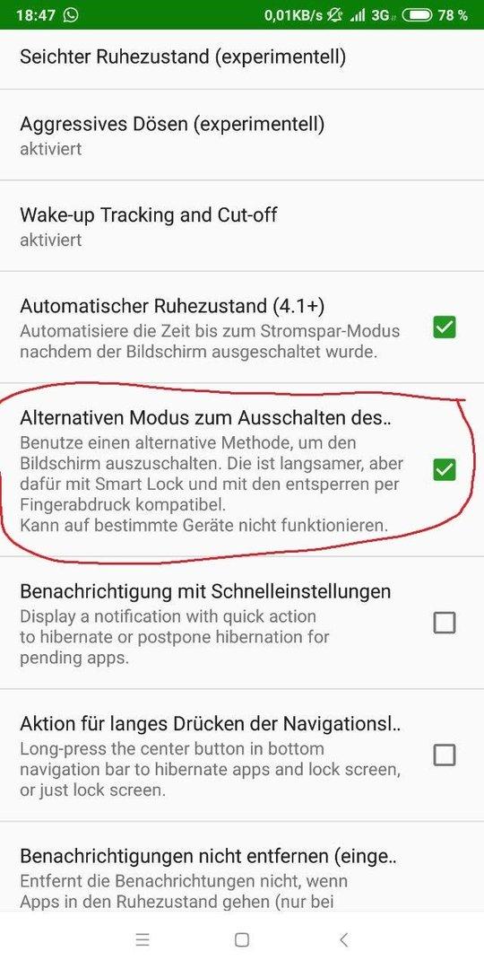 Entsperren mit Fingerabdruck nach Greenify - Nokia 7 Plus