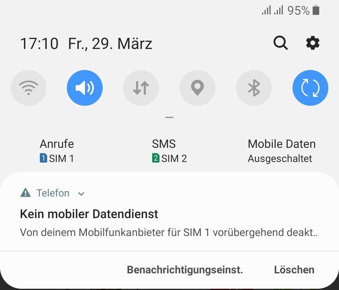 Ständige Mitteilung Kein Mobiler Datendienst Samsung