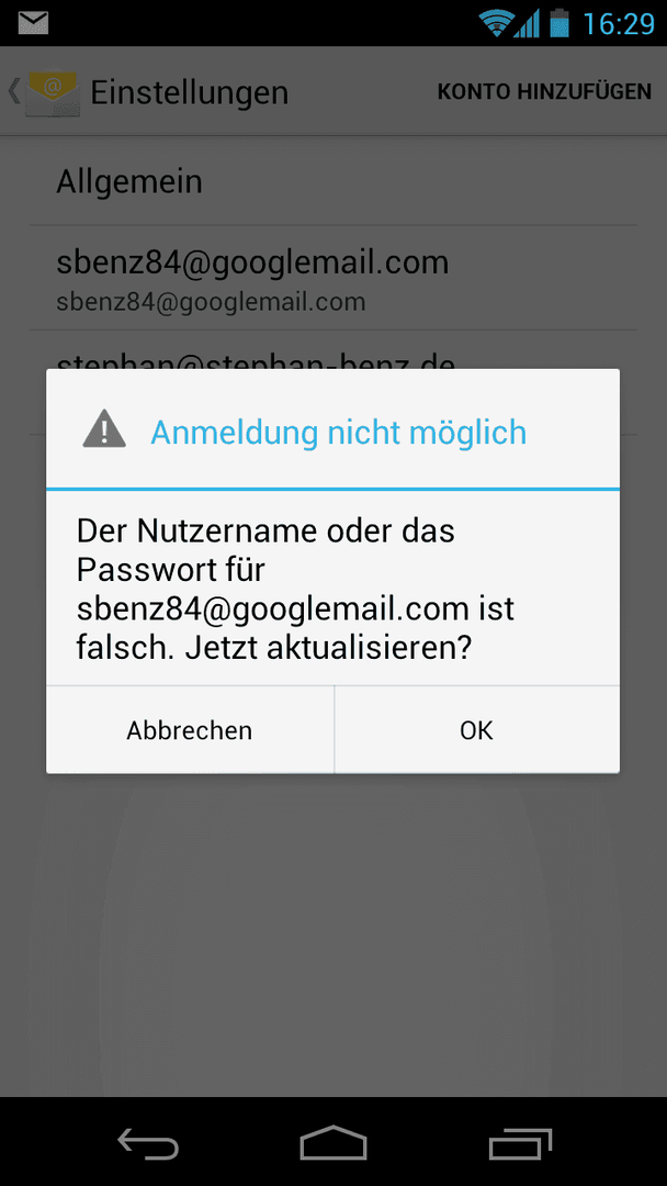 Anmeldung nicht möglich android gmail Yahoo Mail: