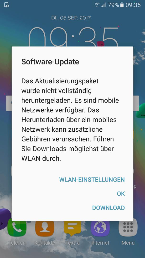 Benachrichtigung: Software-Update: Download fehlgeschlagen