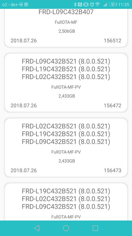 Honor 8 EMUI 8 Android 8 FRD-L09/L19C10B501 - Original