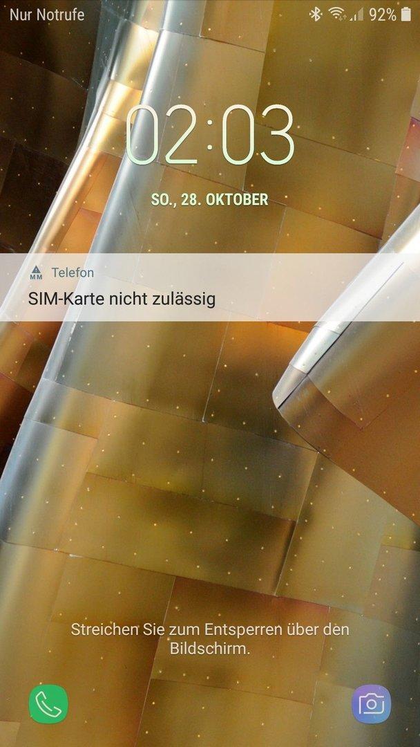 Sim Karte Nicht Zulässig.Seit Letztem Android Update Tägliche Fehlermeldung Sim Karte Nicht