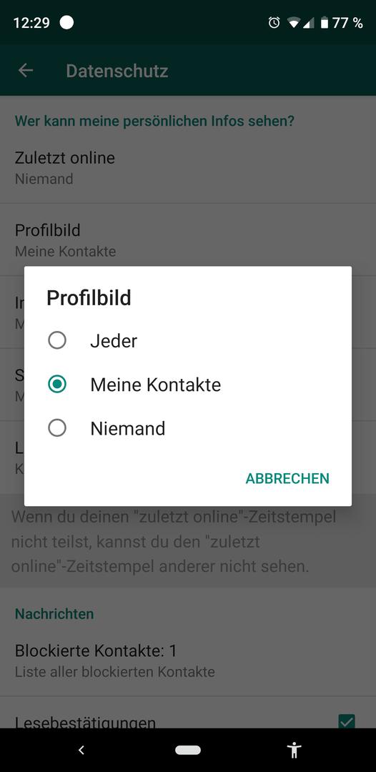 Kontakte sehen blockierte profilbild whatsapp WhatsApp: Was