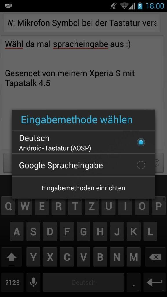 Mikrofon Symbol bei der Tastatur verschwunden :-( - Google Nexus 7 ...