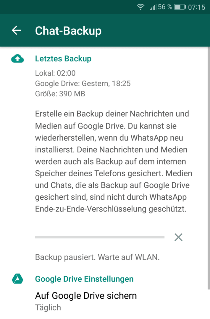 whatsapp backup pausiert