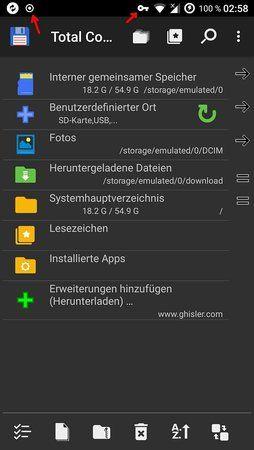 Screenshot Benachrichtigungsleiste mit 2 unbekannten Symbolen (rote Pfeile).jpg