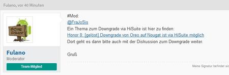 Honor 8: Downgrade von Oreo auf Nougat ist via HiSuite möglich